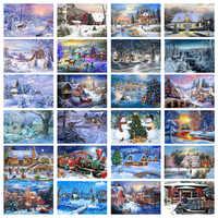 5D Voll Platz Diamant Malerei Mosaik Handgemachte Winter Landschaft Kreuz Stich Diamant Diamant Stickerei Weihnachten Decor Landschaft