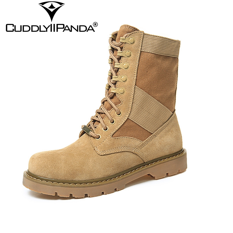 2017 Autumn Winter Cow Suede Women Ankle Boots High Quality Canvas Military Boots Desert Sand Cool Martin Boots Bota Feminina