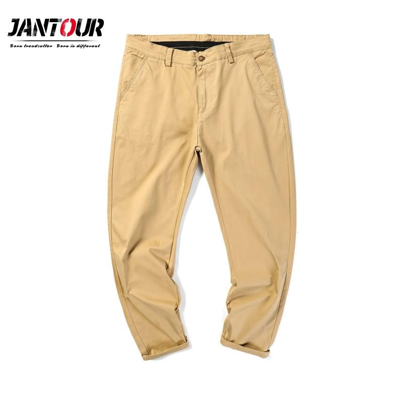 Jantour Mens Pants High Quality Cotton Casual Pants Stretch male trousers man long Straight 4 color Plus size pant 42 44 46 48