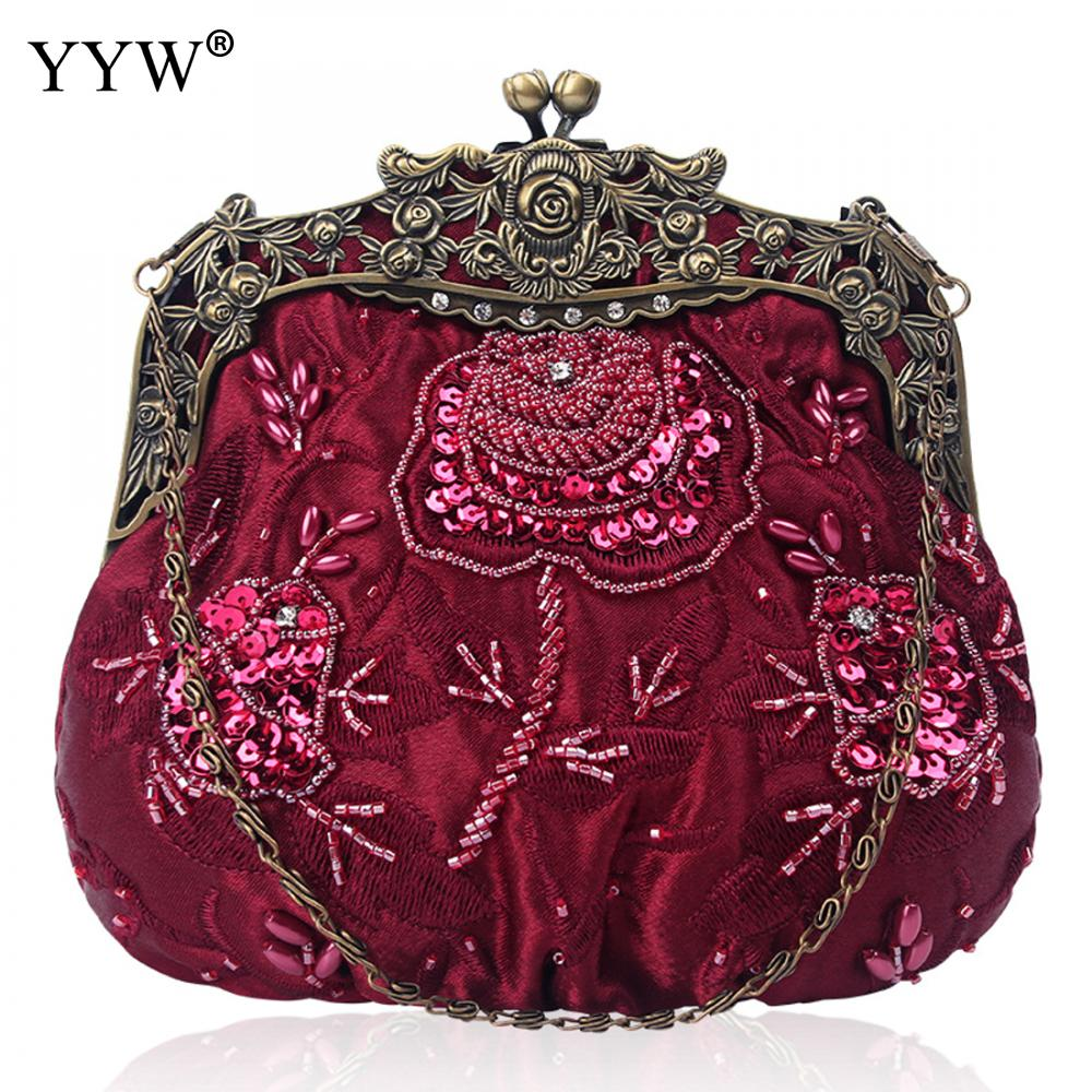 Vintage Bag with Tiny glass Female Tote Handbags Floral Embroidery Composite Clutch Bag Ladies party