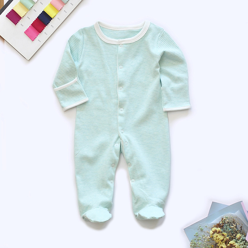 Baby Footed Pajamas Cotton Long Sleeve Snap-up Romper Jumpsuit Sleep and Play 0-12 Months