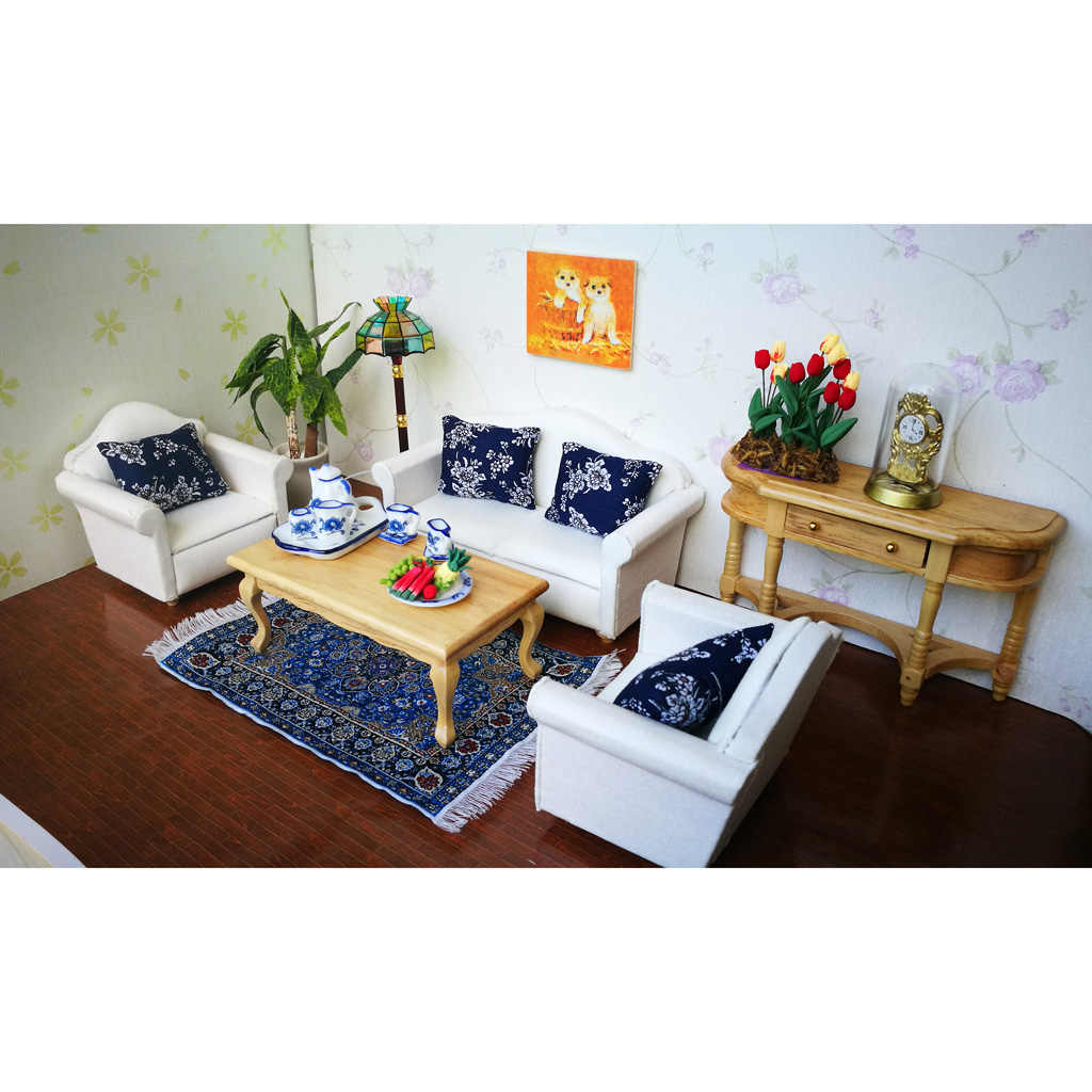 European Style 2 Pieces Floral Cushions Pillow for 1/12 Dollhouse Sofa Bed Accessories Decoration Blue
