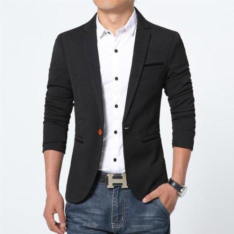 2018 New Fashion Men's Casual Blazers Suit Men Pure Color Coats Plus Size 5XL