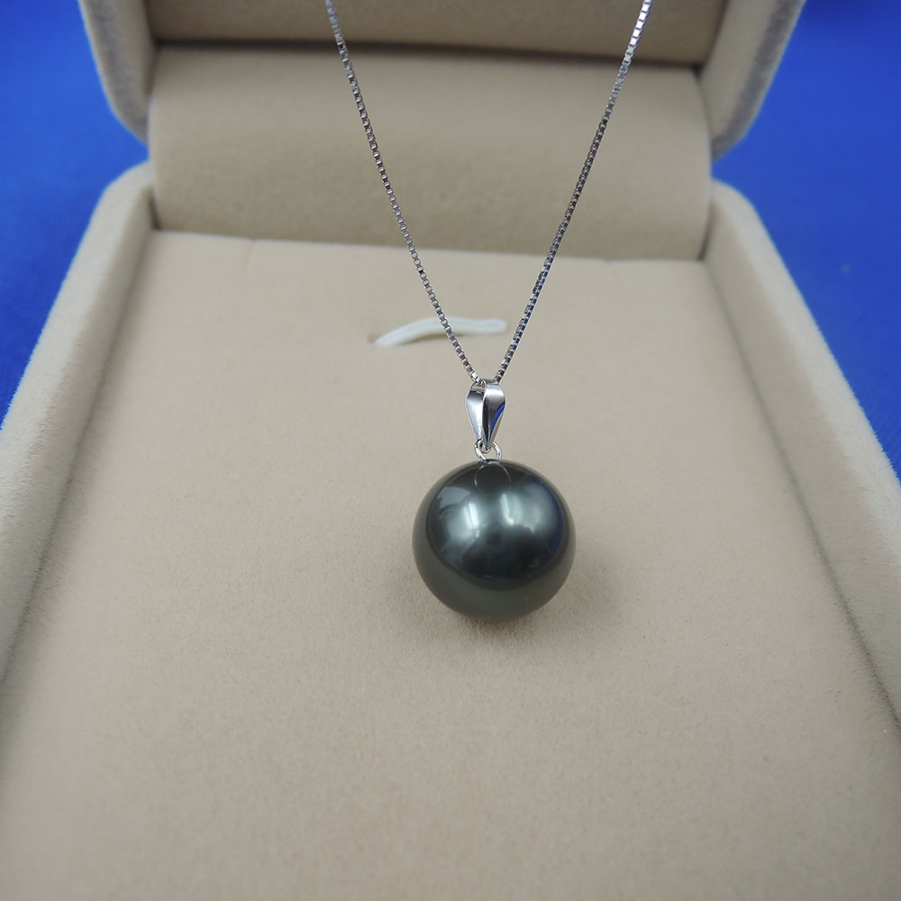100% nature black Tahiti pearl necklace with 18-Kk white gold box chain.11-12 mm pearl .AAAA grade100% nature black Tahiti pearl necklace with 18-Kk white gold box chain.11-12 mm pearl .AAAA grade