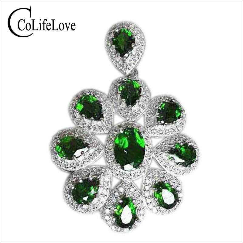 New fashion 925 silver russian emerald pendant real sterling silver classic silver gemstone pendant luxury natural diopside pendant for woman solid 925 silver russian emerald necklace aloadofball Image collections