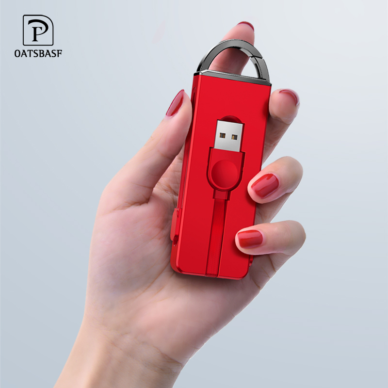 OATSBASF Unique Keychain 3 In 1 with Type C Adapter Charger Cable for iPhone XS X 8 7 Plus Charging Huawei P10 pro