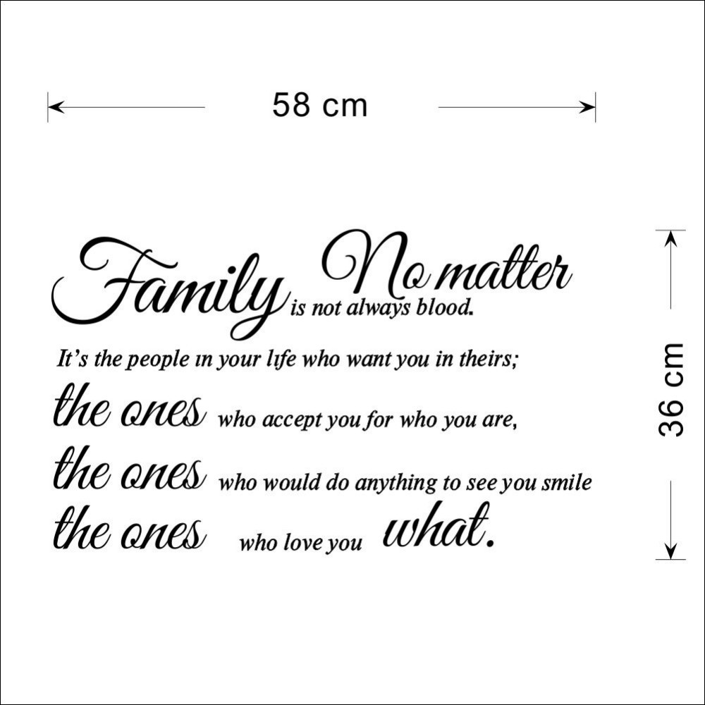 Free Shipping Family Is Not Blood Quote Wall Stickers Home Decor