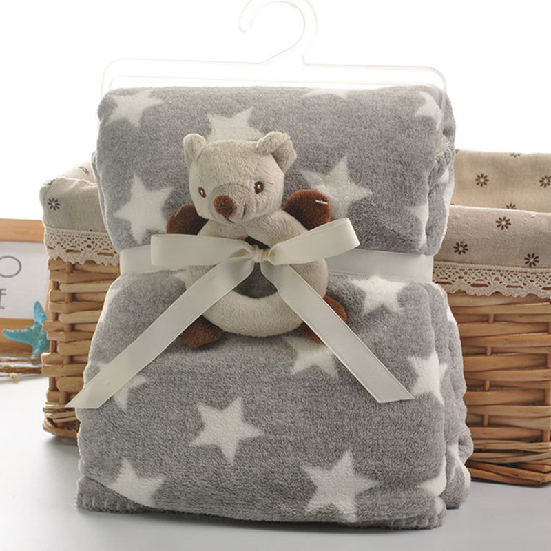 Grey Star Baby Swaddle Blankets Super Soft Newborns Bebe Girls Sofa Bedding Covers Winter Warm Toddler Boys Fleece Quilts Autumn zhh warm soft fleece strip blankets double layer thick plush throw on sofa bed plane plaids solid bedspreads home textile 1pc
