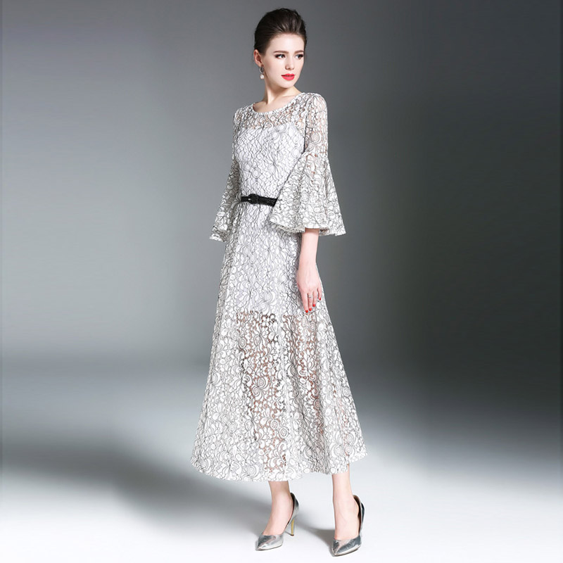 High quality sexy Women's Store 2017 spring summer newest woman runway brand flank sleeves retro temperament hollow elegant long lace dress hot sales plus size