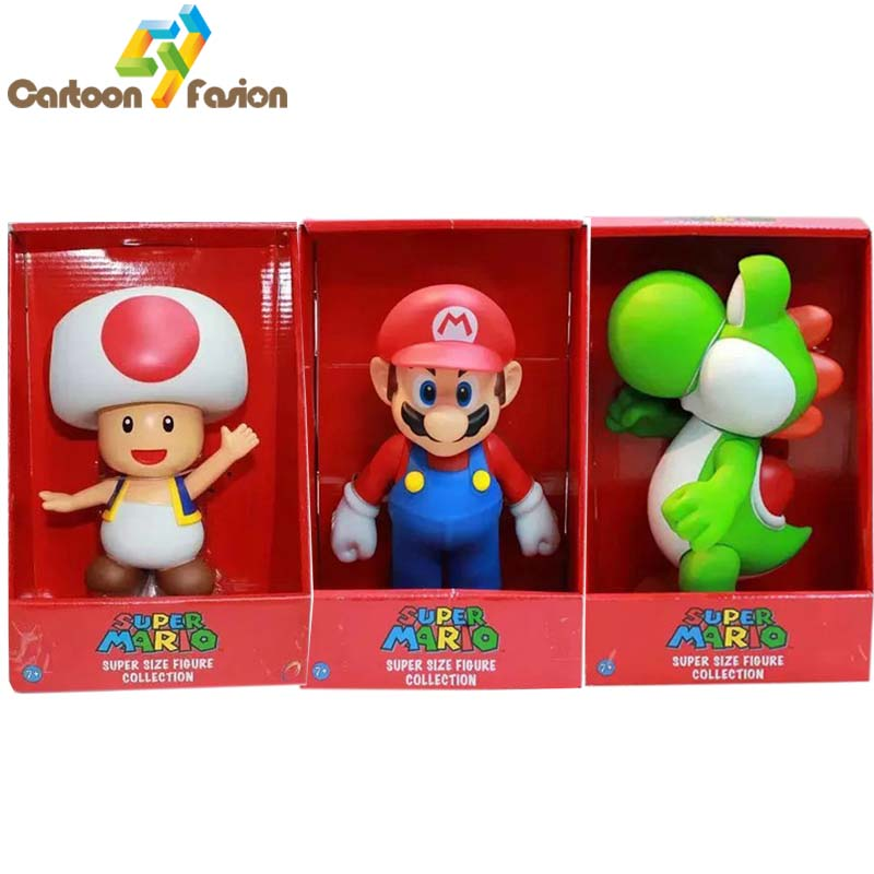 23cm Super Mario Bros Mario Luigi Toad Yoshi Peach Bowser PVC Action Figure Collectable Model Toys цена