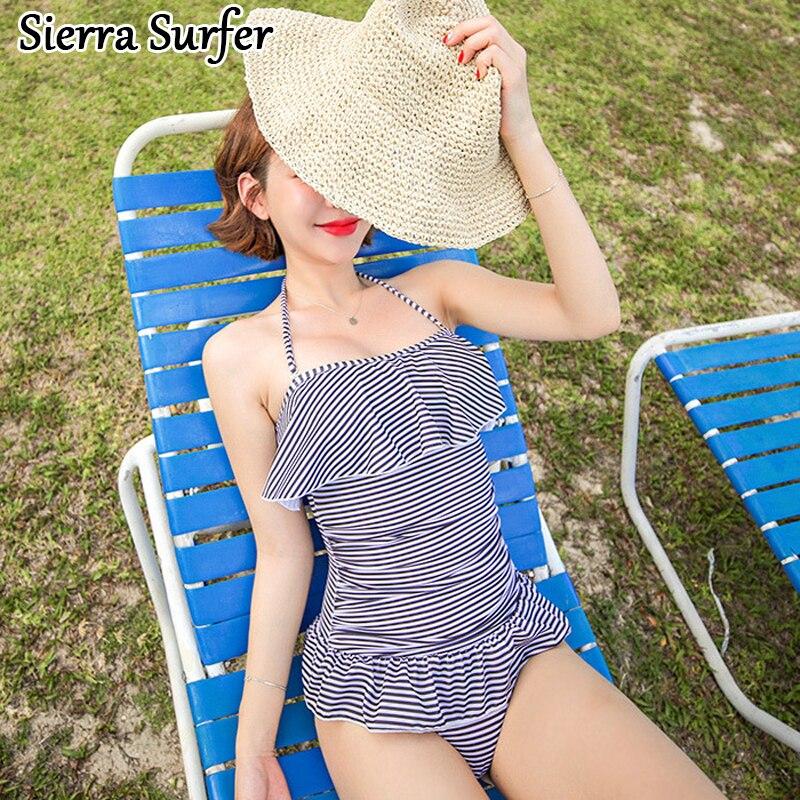 Swimwear Large Size One Piece Swimsuit Womens Swim Wear Indoor Plavky Women Woman Rashguard 2018 New Striped Skirt Swimming sbart upf50 rashguard 2 bodyboard 1006