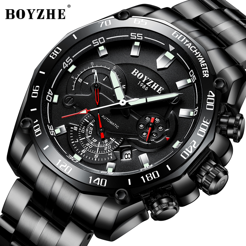 BOYZHE Men Sports Automatic Mechanical Watches Black Fashion Casual Brand Stainless Steel Gold Watch Relogio Masculino winner skeleton mechanical watch luxury men black waterproof fashion casual military brand sports watches relogios masculino