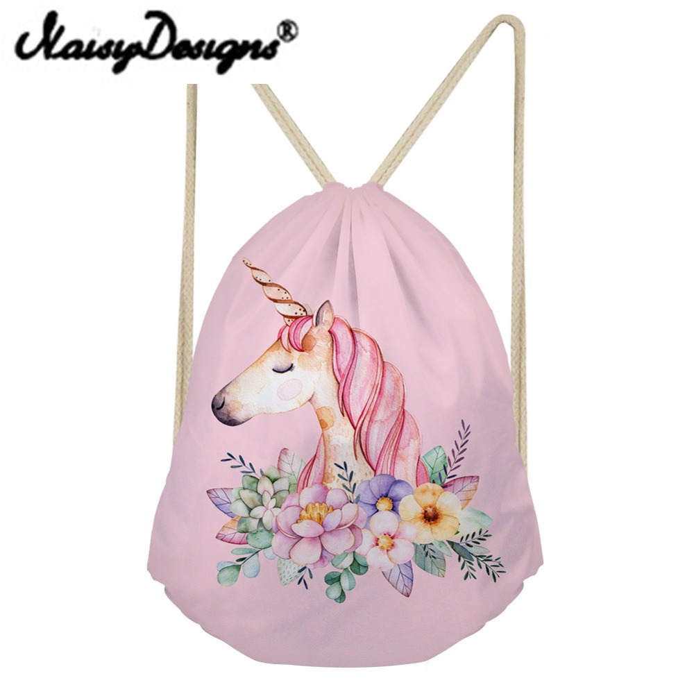 NOISYDESIGNS Cartoon Unicorn Printing Drawstring Backpack School Shopper Cute Daypack Kids Satchel Softback for girls Mochila