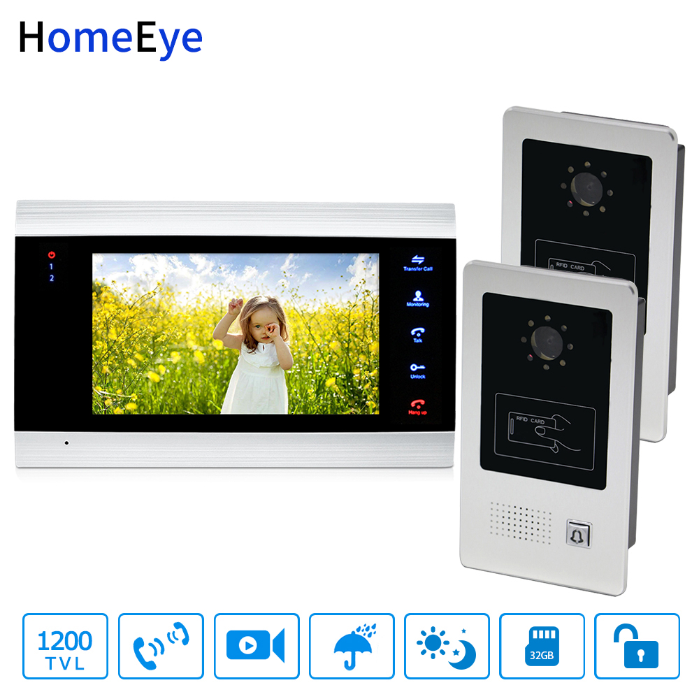 HomeEye 7 Video Door Phone Bell Home Access Control System 2-1 1200TVL Rainproof RFID Motion Detection Touch Button