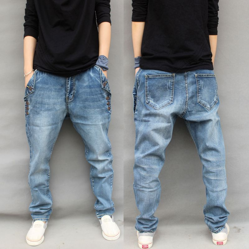 2016 Baggy Jogger jeans Casual Elastic Harem Pants Hip Hop Taper Pants Men street Trousers Legging Jeans Plus Size 6XL 031702