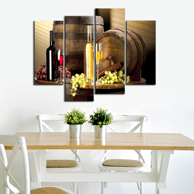 Dining Room Art: 4 Piece Wine Grapes Cask Still Life Modern Pictures Wall