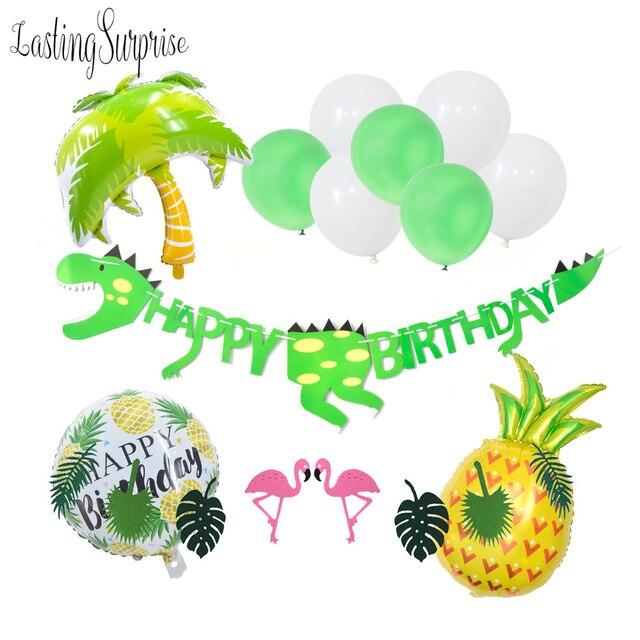 Happy Birthday First Boy Party Balloon Dinosaur Supplies Jungle Decorations Dino Confetti Balloons Foil