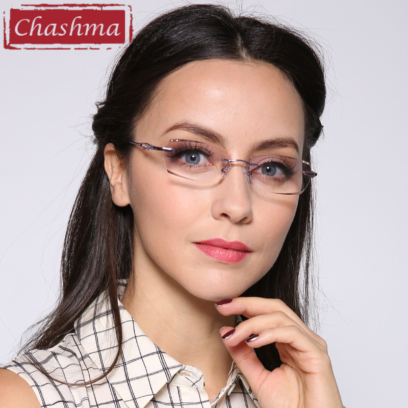 Chashma Luxury Tint Lenses Myopia Glasses Reading Glasses Diamond Cutting Rimless Alloy Glasses Frame Colored Lenses Women