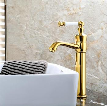 New Arrivals Bathroom Faucet hot and cold Gold Crane Brass Basin Faucet Wash Basin Sink Faucet Single Handle water tap