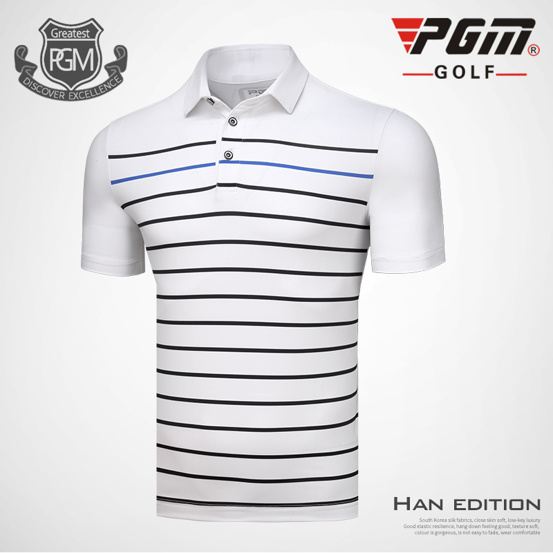 PGM Men Golf polo Shirts Spring Summer Mens Short Sleeve Striped T-shirt Soft Breathable elastic Milk Silk Golf Sportswear tops