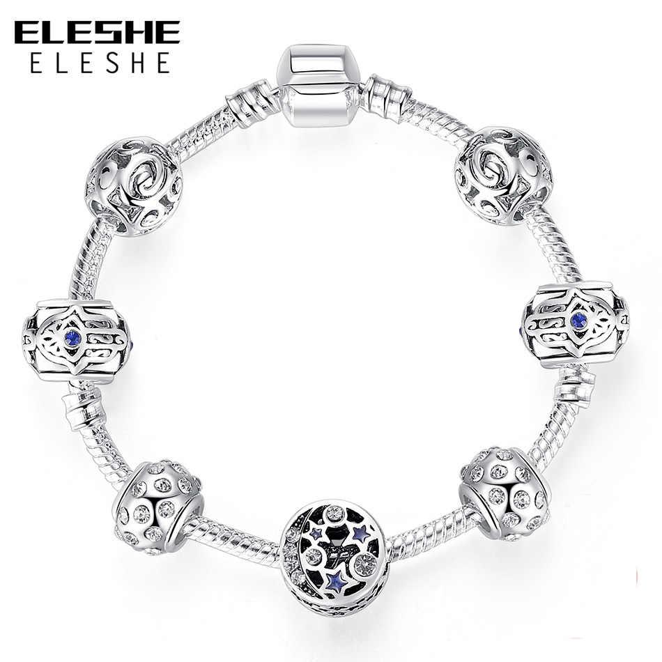 ELESHE серебряный браслет и браслет с синий турецкий счастливый глаз звезда Шарм Браслеты для женщин ручной работы Fatima Дружба Ювелирные изделия