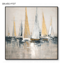 цены на Artist Hand-painted High Quality Abstract Landscape Boats Oil Painting on Canvas Fashion Art Beauty Gold Foil Boats Oil Painting  в интернет-магазинах