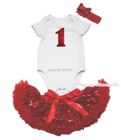 Minnie 1ST Birthday Tacchi Love Mom Tuta Bianca Rosso Bling Gonna Neonato NB-12M MAJPA0014