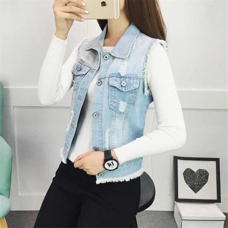 2019 frühling Denim Weste frauen Mantel Vintage Strickjacke Ärmellose Kurze Casual Jeans Jacken Mäntel Weste Große Größe XS-4XL M10