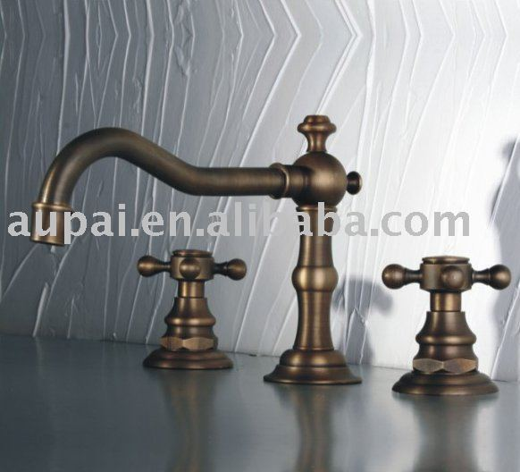 Free Shipping - Two Handles Classic Bathroom Mixer Faucet  Antique Brass Basin / Sink Mixer (F-5012)