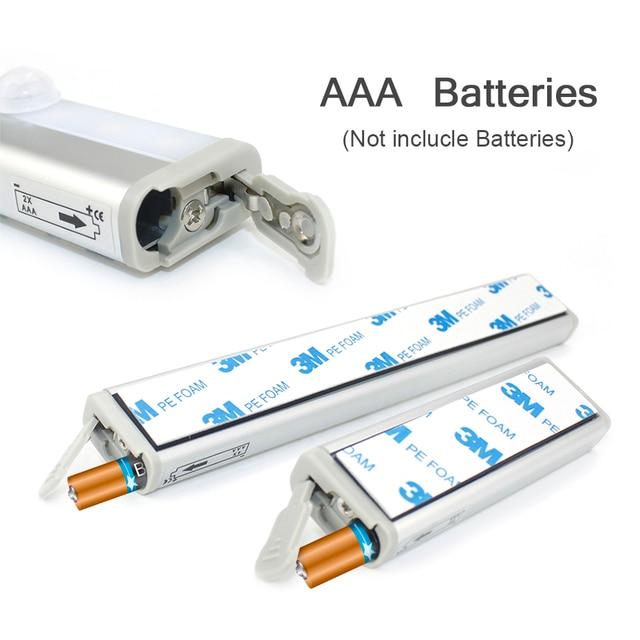 PIR Motion Sensor LED Under Cabinet Light Auto On/Off  6/10 LEDs 98/190mm For Kitchen Bedroom Closet Wardrobe Night Lights