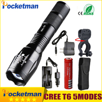 Newest 100 Authentic 3800 Lumens 5 Mode CREE XM L T6 LED Flashlight Zoomable Rechargeable Focus