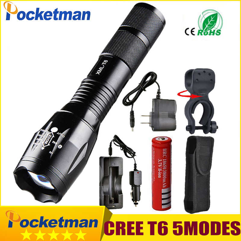 Pocketman 9000 Lumens High Power 5 Mode CREE XM-L T6 L2 LED Flashlight Zoomable rechargeable Focus Torch by 1*18650 or 3*AAA z92 2018 led flashlight 18650 torch waterproof rechargeable xm l t6 4000lm 5 mode led zoomable light for 3x aaa or 3 7v battery