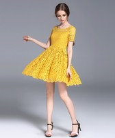 Fashion 2017 Vestidos Feminino Summer Style Yellow Princess Dress High Quality Lace O Neck Slim Hollow
