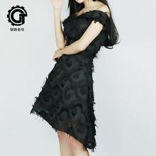 Черное платье в стиле панк новинка 2019 Короткое Вечернее приталенное