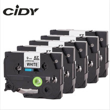CIDY 5 rolls Black on white TZe221 TZe 221 P Touch Label Tape Compatible for Brother 9MM tz221 tz 221  tze-221 laminated tapes