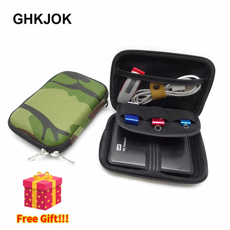Military green Carry Case Cover for 2.5 inch Power Bank Earphone U Disk USB external WD seagate HDD Hard Disk Drive Protect Bag