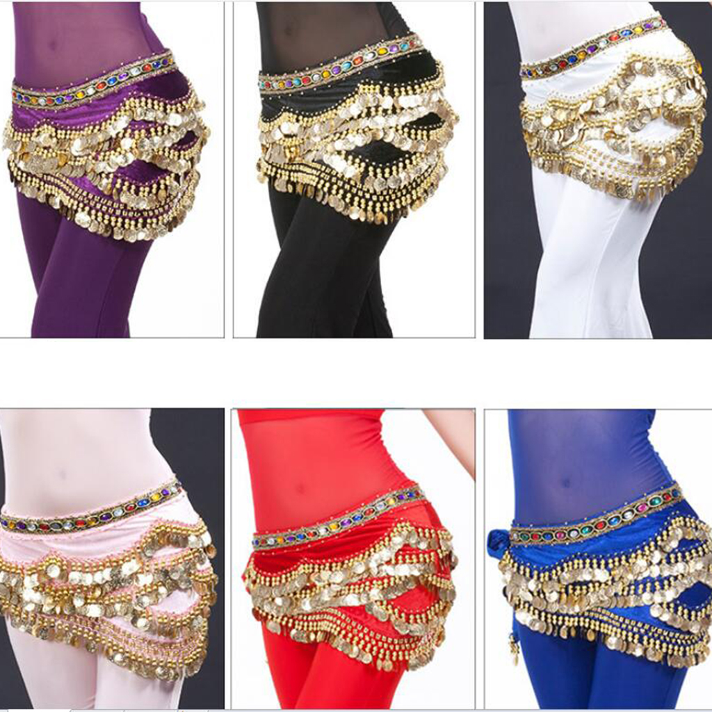 Velvet Dangling Gold Coins Belly Dancing Hip Skirt Scarf Wrap Belt For Womens Belly Dance
