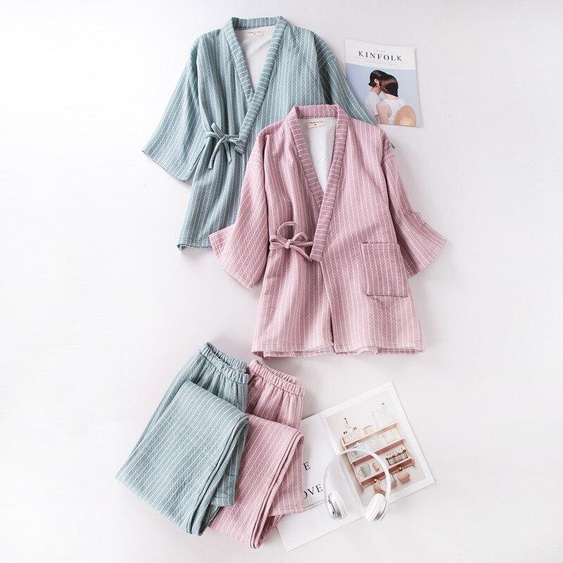 Women's   Pajama     Sets   Winter Yukata Underwear Japanese Kimono Robe Gown Cotton Suits Nightgown Sleepwear Bathrobe Leisure Homewear