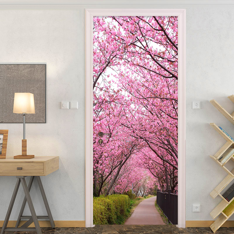 Pink Cherry Blossom Path Landscape Door Sticker Wedding House Living Room Wallpaper Home Decor 3D Wall Decals PVC Self Adhesive|Door Stickers| |  - title=