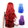 "32"" Long Cosplay Wigs Curly Natural Wig Synthetic Hair Perucas for Black Women Perruque Pelucas Sinteticas 80cm Red Blue Purple"