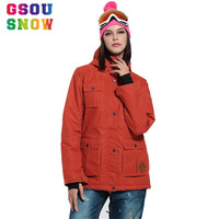 2016 GSOU SNOW New Retro Winter Orange Red Thick Thermal Wearable Women Ski Jackets Ladies Windproof