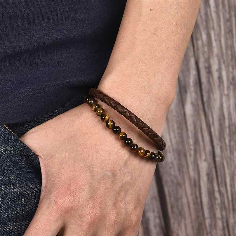 Jiayiqi masculino frisado pulseira de couro natural pedra marrom trançado corda pulseira de aço inoxidável fecho pulseira masculino jóias presente