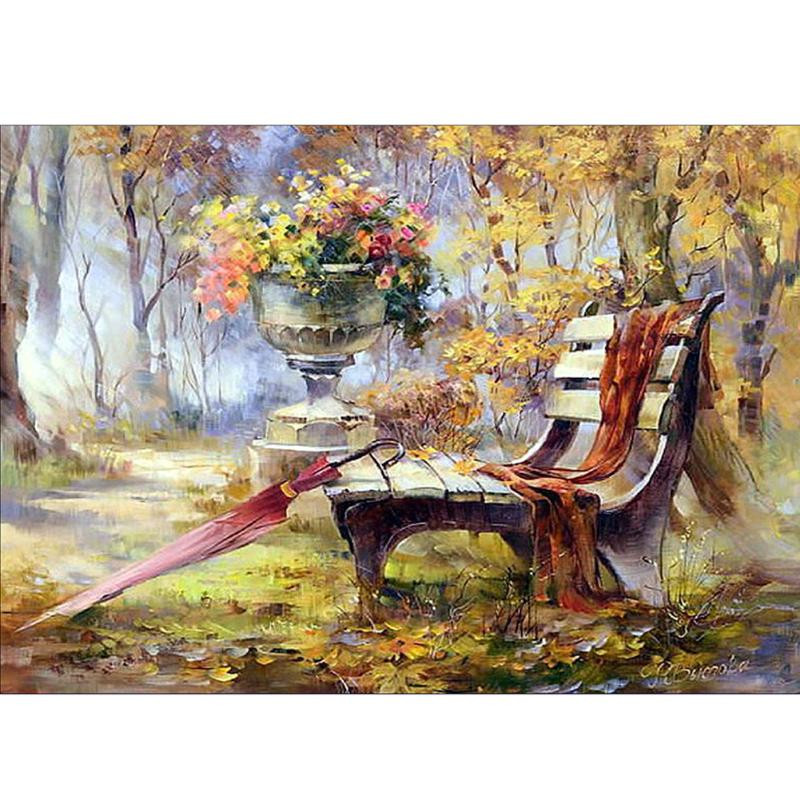 DIY Square Diamond Painting Cross Stitch Diamond Embroidery Scenic Park Benches Pattern Hobby And Diamond Mosaic Christmas Gift