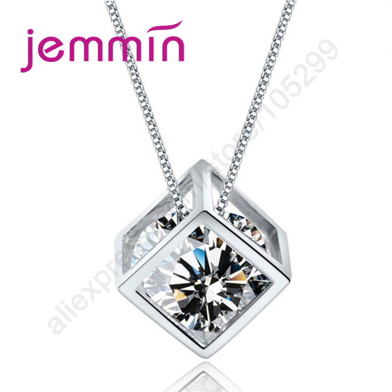 Hot Sell Geometric 925 Sterling Silver Squre Figure Pendant Necklace With Clear Crystal Rhineshone Inside For Female