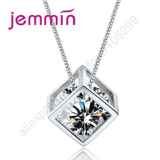 Jemmin Hot Bán Hình Học 925 Sterling Silver Bạc Squre Hình Mặt Dây Chuyền Vòng Cổ Với Rõ Ràng Pha Lê Rhineshone Bên Trong Cho Nữ
