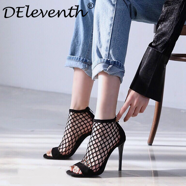 2682c9b4f98 Zapatos mujer 2018 Brand women s shoes high heels mesh peep toe sandals  fishnet zip Sexy party dress woman shoe gladiatoe sandal