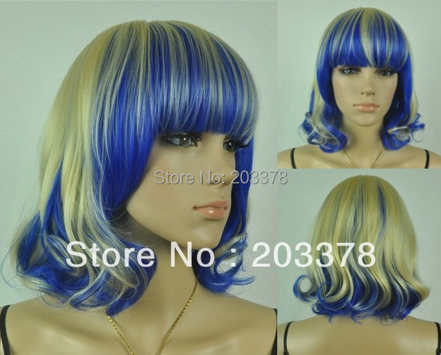 High Quality Blonde and Blue mix Synthetic Fashion Curly Party cosplay Hair Wig 10pcs/lot mix order free shipping