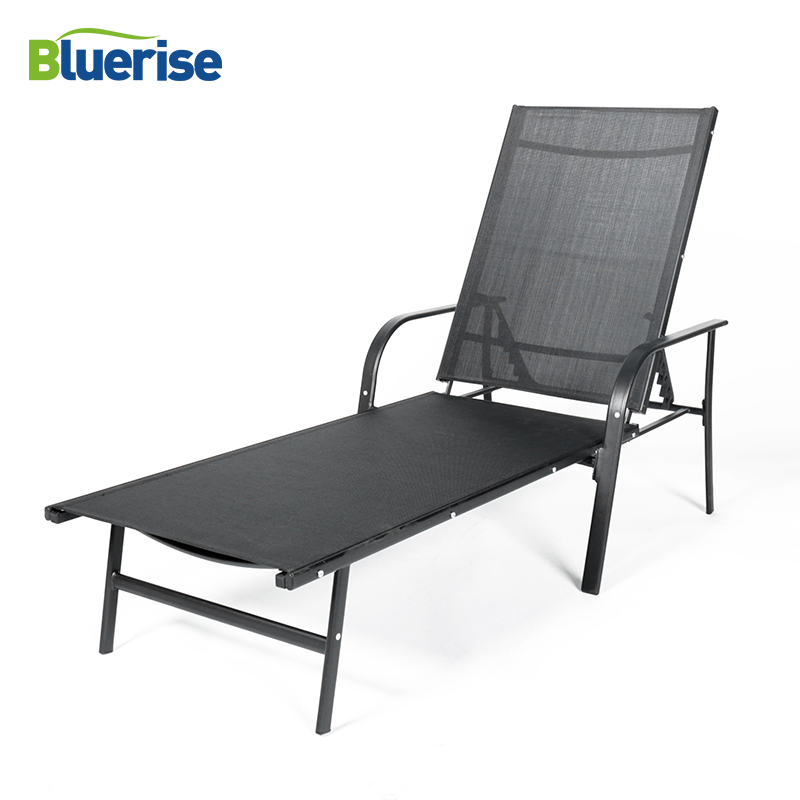 Solarium Chaise Lounges Black Outdoor Furniture Folding Couch Durable UV Protected Textilene Mesh Fabric Recliner Chair Beds