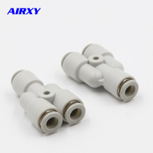 10pcs Y Pneumatic Connector Tee Union Push In Fitting for Air Pipe joint OD 4 6 8 10 12MM,PY4,PY6,PY8,PY10,PY12,PY16