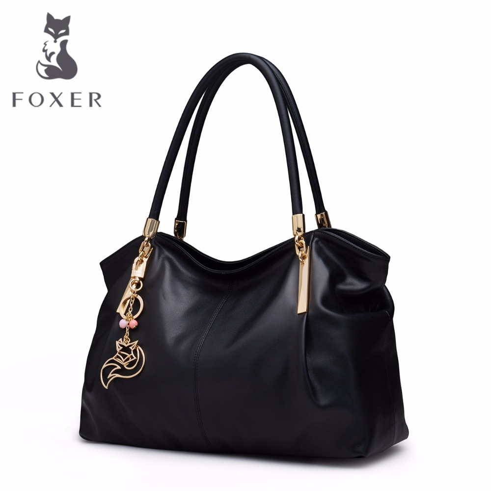 FOXER Brand Women Genuine Leather Bag Handbags Fashion Female Luxury Tote Cowhide Shoulder Bag 2018 new women fashion genuine cow leather luxury ol style handbags female brand shoulder bag casual tote cross body bag